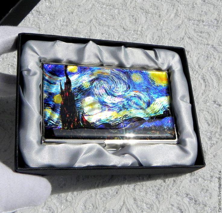 Купить Визитница Звёздная ночь,Ван Гог,инкрустация перламутром,ручная роспись - перламутр натуральный