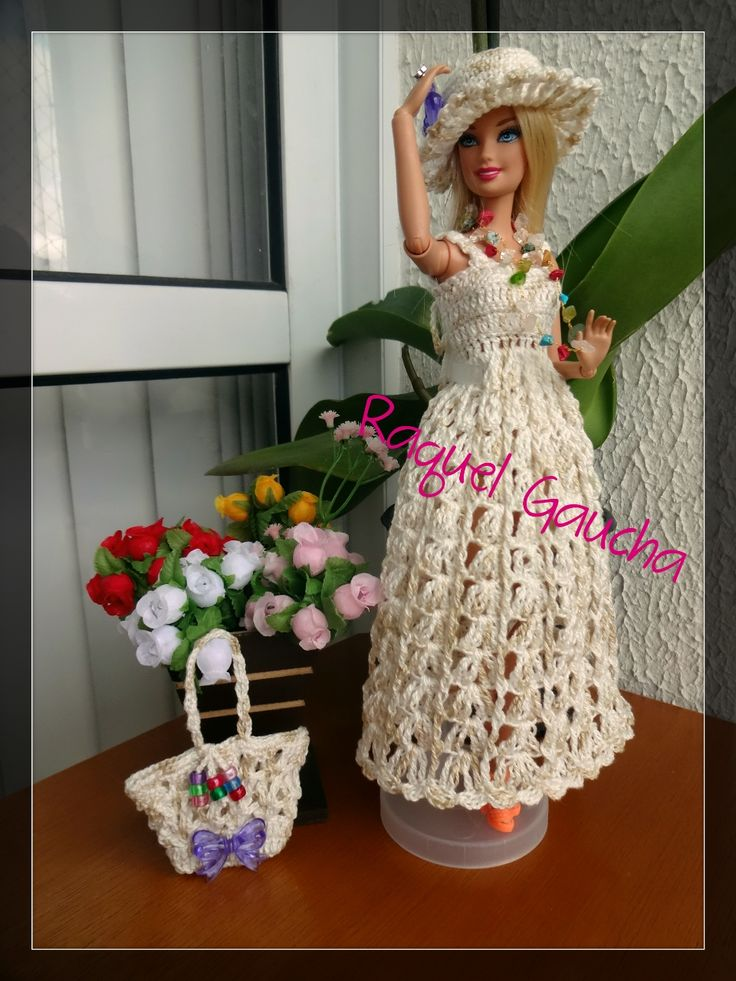 #Cléa5 #Crochet #Barbie #Doll #Muñeca #Vestido #Dress #Purse #Bolsa #Chapéu #Hat #Sombrero #RaquelGaucha