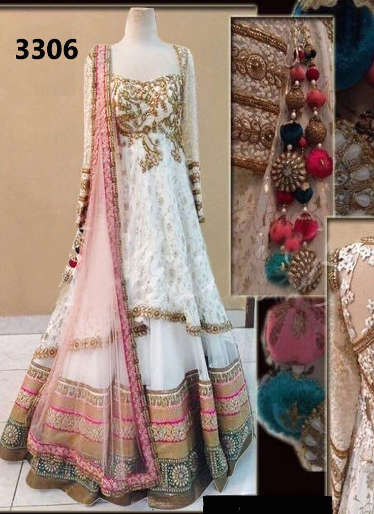 Get gorgeous in white with this splendid lehenga decorated with lace work and embroidery #White #Lehenga #Bridal #Wedding