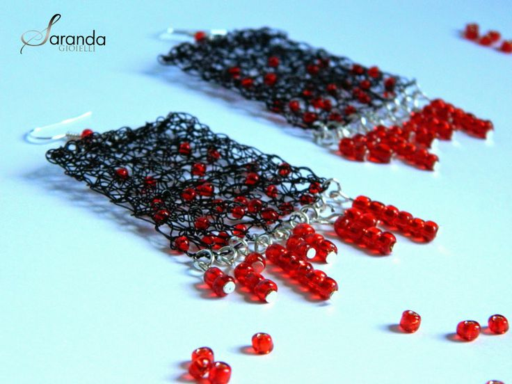 Donika Art: Crochet wire, very cute crochet wire earnings with red beads