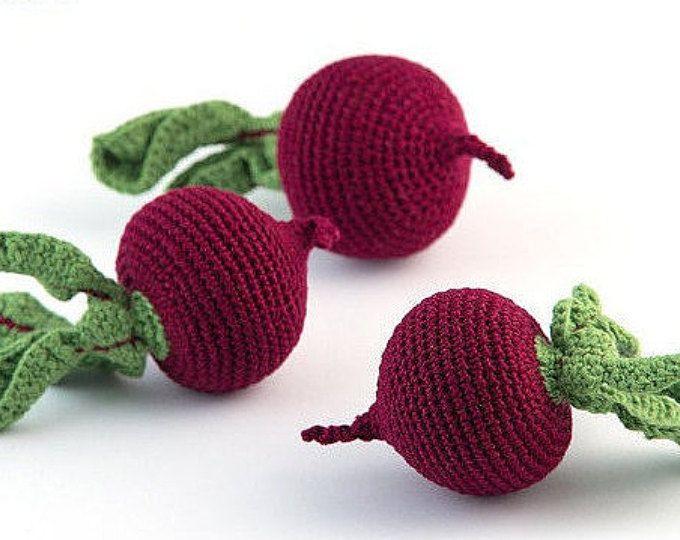 1 pz - barbabietola Crochet, uncinetto verdure, Massaggiagengive denti, giochi con il cibo, decorazione della cucina, eco-amichevole, MiniMom