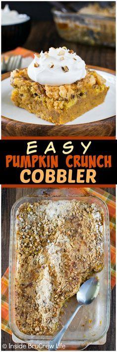 Easy Pumpkin Crunch Cobbler - a crunchy streusel topping and creamy pumpkin filling makes this dessert a great fall recipe!