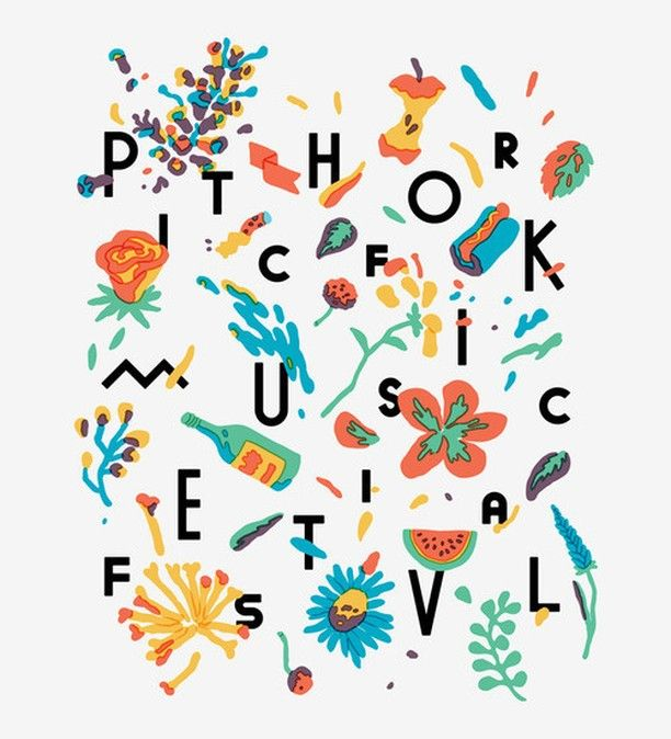 Merchandise and signage graphic for the 2013 Pitchfork Music Festival by Tim Lahan. #design #designspiration #posterinspiration
