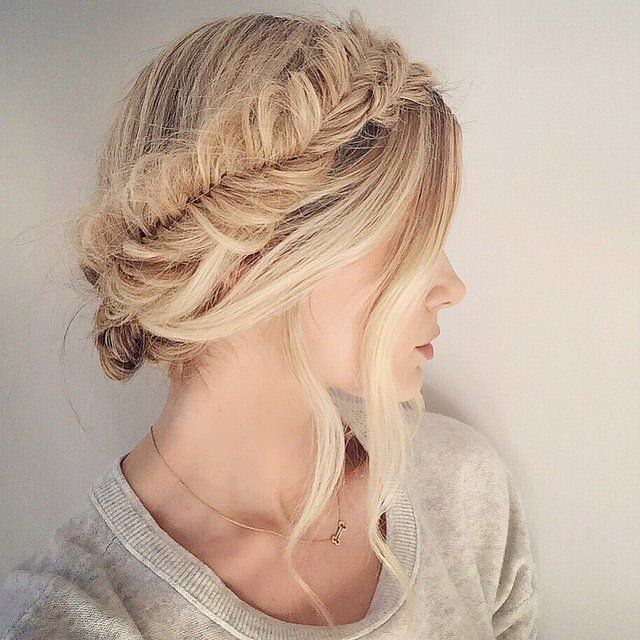 Why not give your milkmaid braid a modern update by making it a fishtail braid.