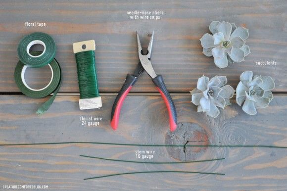 DIY Succulent Boutonnieres + How-to Wire Succulents for Arrangements