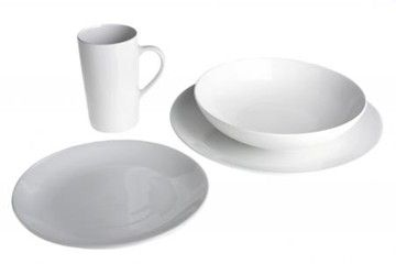 Features/Specifications Product code: RHCCS16 Super white porcelain 16pc dinner set - couple shaped Consists of: 4 Dinner plates 4 Side plates 4 Pasta bowls 4 Mugs Dishwasher safe & microwavable