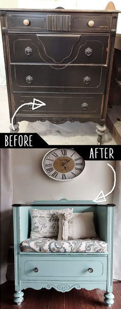 This is brilliant! - Unused Old Dresser Turned Bench - keep an eye out for dressers you can DIY when you shop Goodwill! www.goodwillvalleys.com/shop/