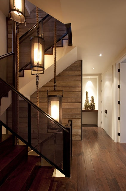 wood as accent on staircase wall