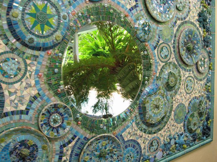 Mosaic Mural using plates, mirror and ceramics