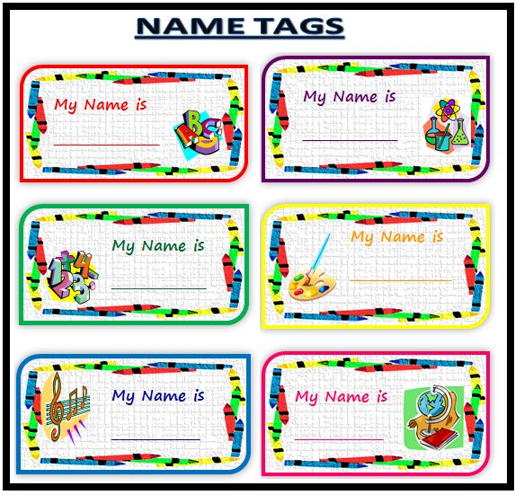 30 Best Images About Back To School Name Tags On