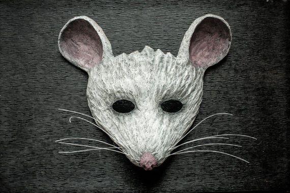 White Mouse Mask Animal Mask Fancy Dress Party Mask Festival Woodland Paper Mask…