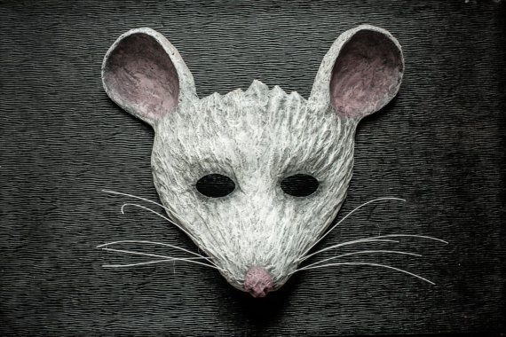 White Mouse Mask Animal Mask Fancy Dress Party Mask Festival Woodland Paper Mask…