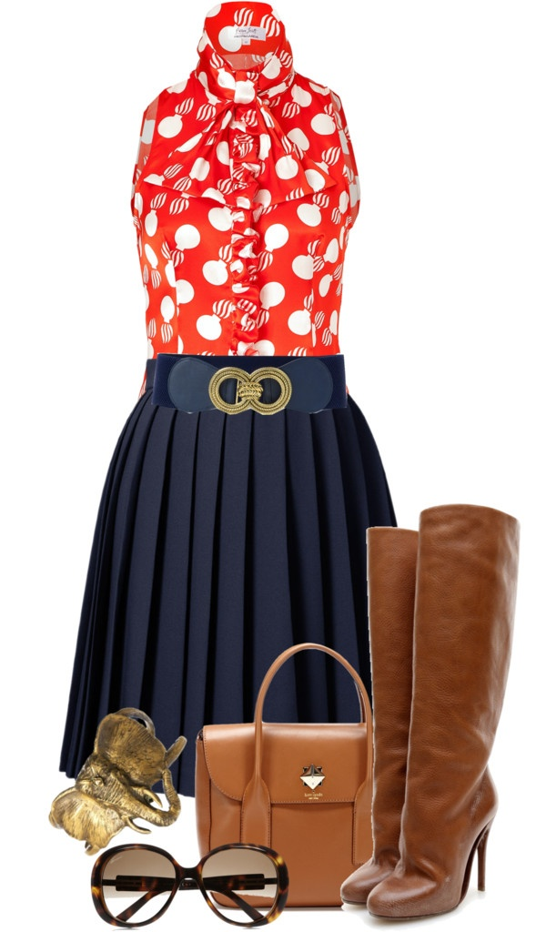 """""""Pleated Skirt Contest"""" by stylebystevinkyle ❤ liked on Polyvore"""