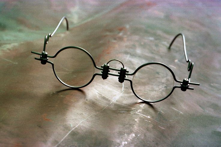 Caption: Custom-made eyeglass wear designed by art student Richard Nelipovich. Photo by: Jeff Miller