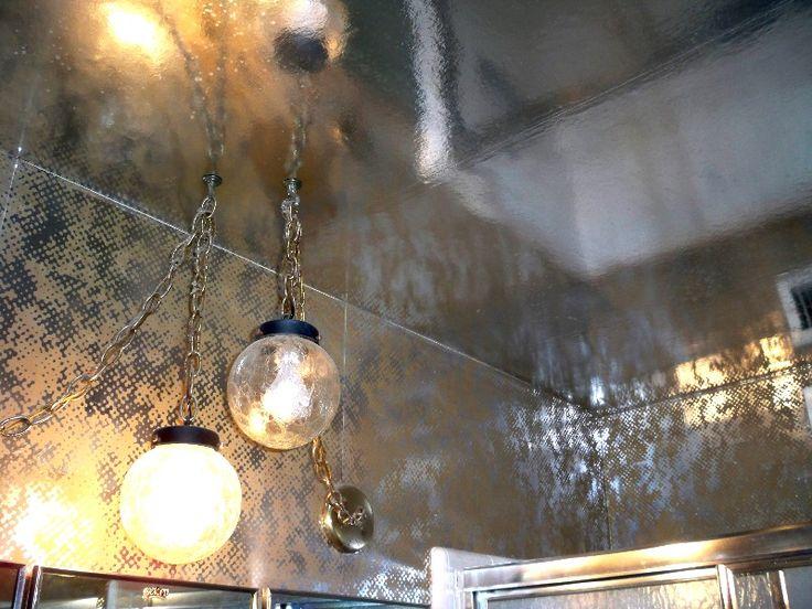 1970s Wallpaper | 1970s foil wallpaper master bathroom wall ceiling
