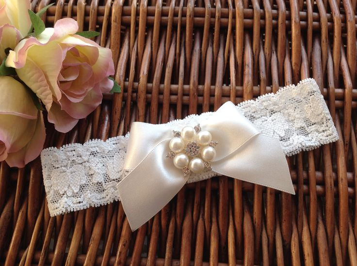 Handmade, bespoke made to measure garter from Lilly Dilly's #wedding #garter #bride #lace #bow #pearl #diamanté #ivory #vintage #bespoke #luxury #Lilly Dilly's