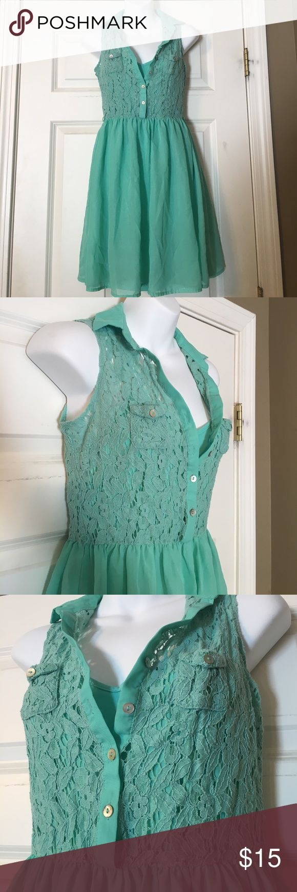 Mint Green Dress Size small mint green dress in good condition still. Has lace top, and the skirt is a sheer material. The dress has a slip underneath. If you have any questions, feel free to ask! :) American Rag Dresses Mini