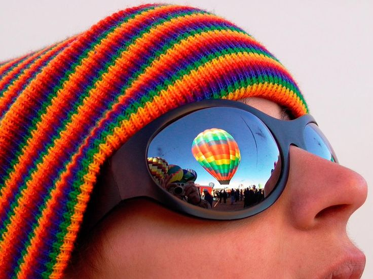 Picture of hot air balloon reflecting in sunglasses