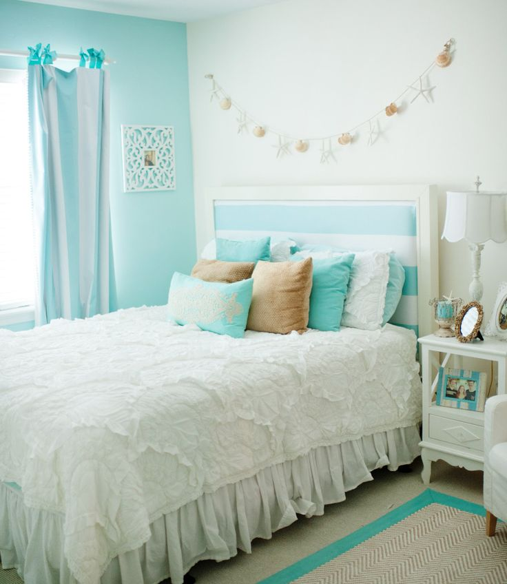 Chic, Beach-inspired Girls Room - love the tiffany blue and white color scheme!