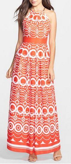 Pretty print jersey halter maxi dress