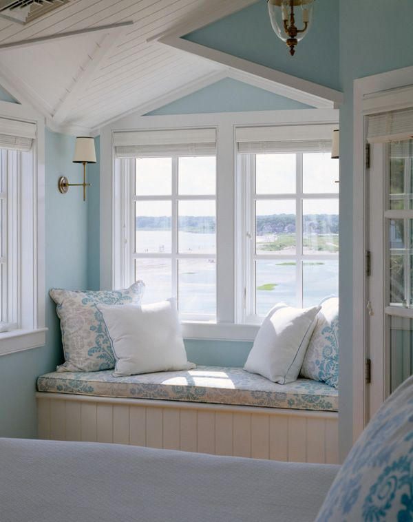 Best Home Sweet Home Images On Pinterest Live - Beautiful windows and love the window seat with blue white cushions