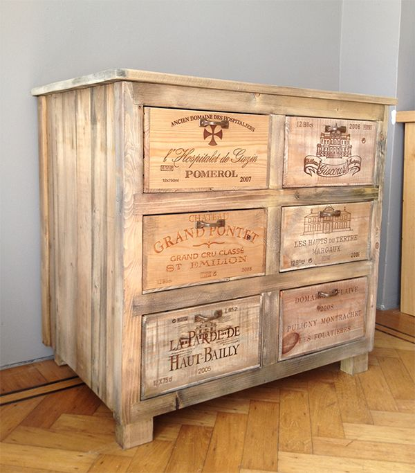 Kast van houten wijnkisten  Cabinet wooden wine crates  Www.wijnkistkast.nl