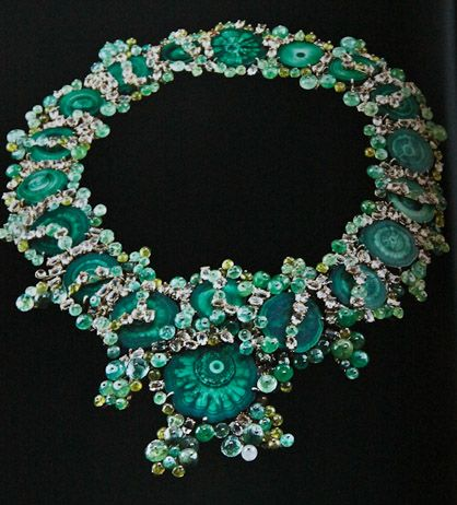 THE ONE OF A KIND, POND SCUM NECKLACE DESIGNED BY HUTTON WILKINSON FOR TONY DUQUETTE JEWELRY CONSISTS OF MALACHITE, EMERALDS, PERIDOTS AND CITRINES ALL SET IN 18K GOLD. THIS PIECE IS FEATURED IN THE ABRAMS BOOK, TONY DUQUETTE*HUTTON WILKINSON*JEWELRY, AVAILABLE ON AMAZON.COM