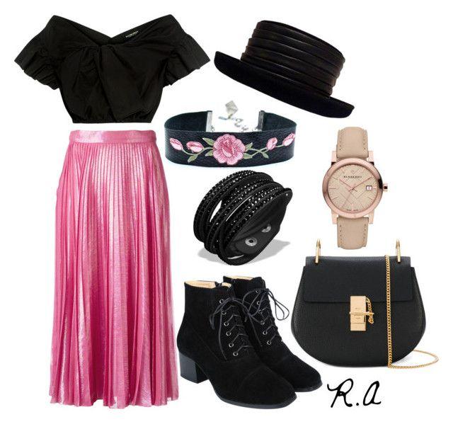 Metalic Pink Pleated Skirt by ratihasmarani on Polyvore featuring Rachel Comey, Gucci, Chloé, Burberry and Kokin