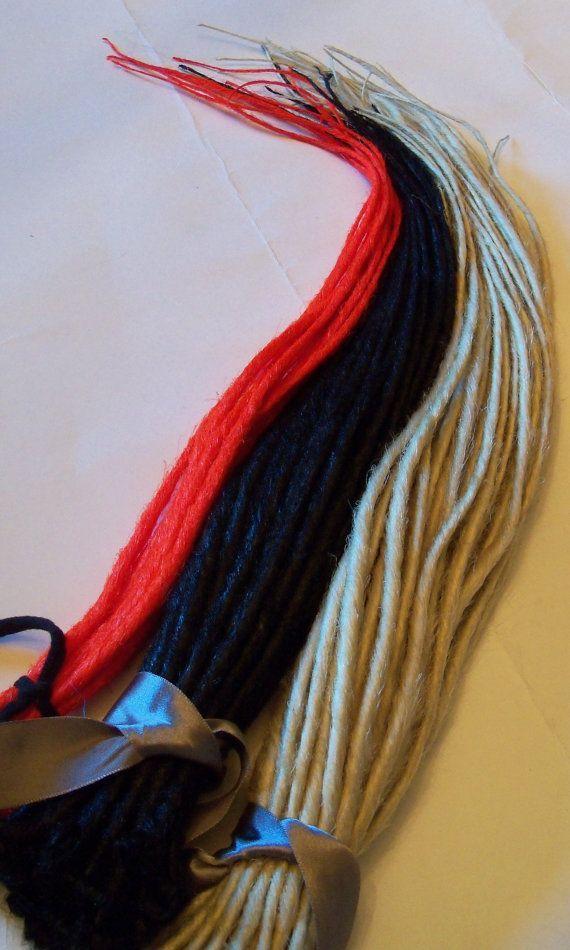 100 Synthetic Dreads Platinum Blond Black Red Thin Skinny Dreadlocks by damnationhair.com
