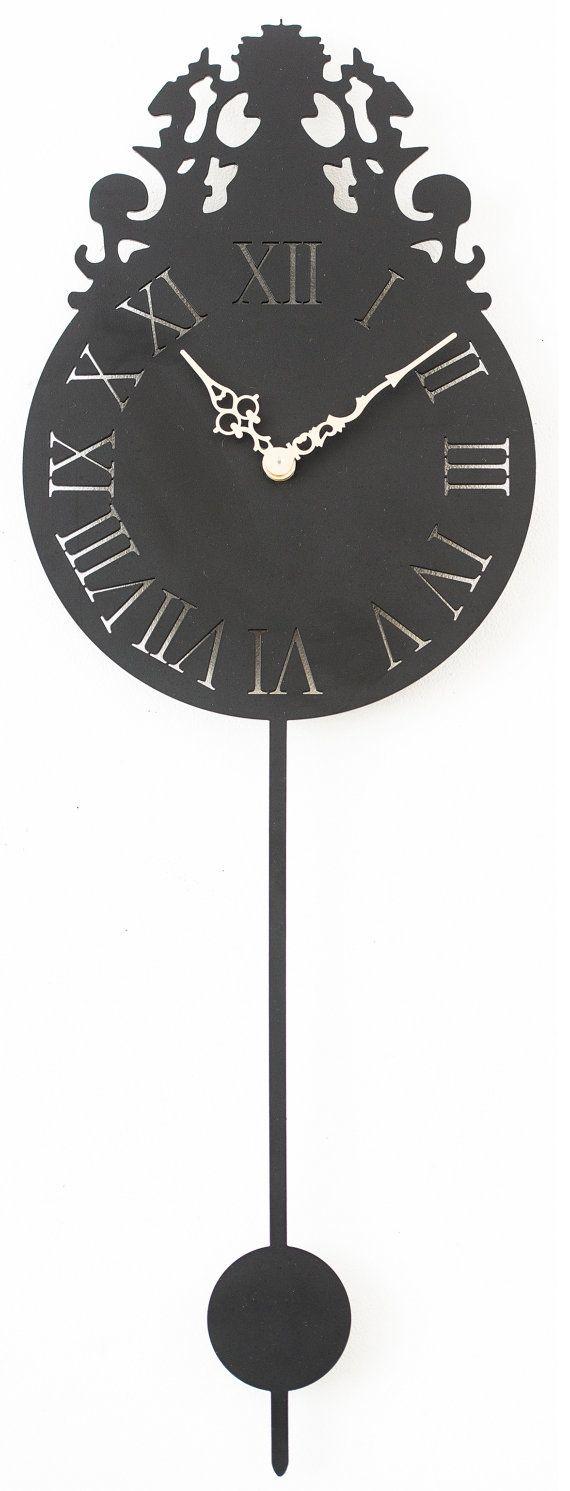 Hand drawn & laser cut, metal wall art working clock