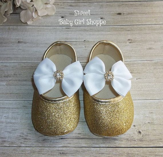 Gold Baby Shoes for White and Gold 1st by SweetBabyGirlShoppe