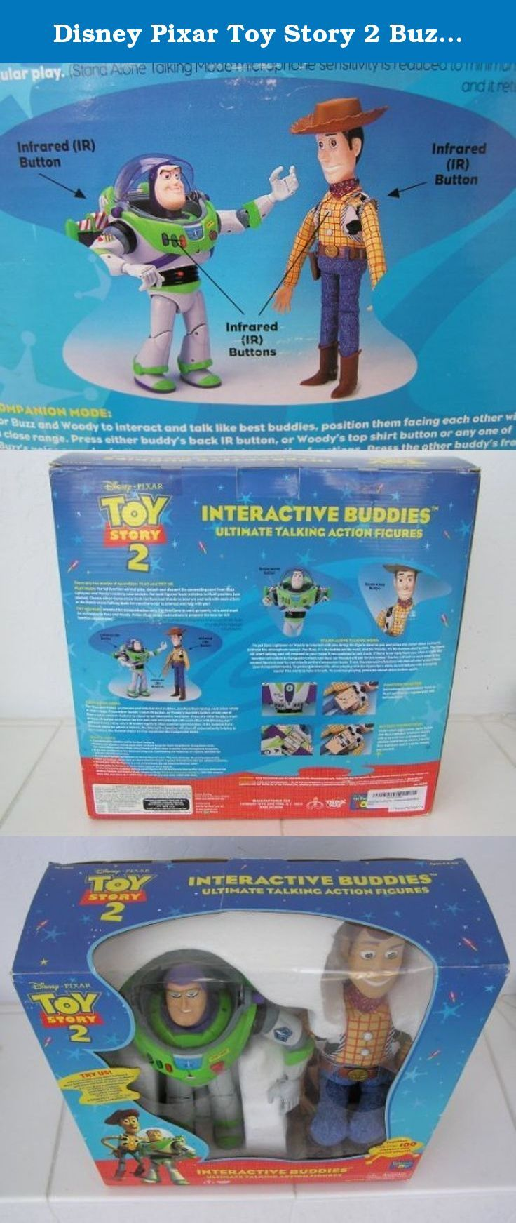Disney Pixar Toy Story 2 Buzz And Woody Interactive Figures. Ultimate Talking Action Figures. Together With Over 100 Phrases And Sound Effects. by Thinkway Toys. Companion Mode allows them to talk to each other. Stand Alone Mode allows them respond to you when you talk to them.
