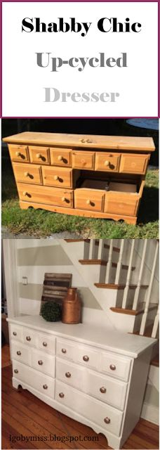 """I go by """"Miss"""": Basic Dresser Remodel From Trash to Shabby Chic - Almost Free"""