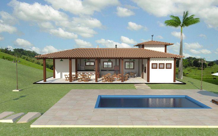 Casa de Campo Rancho Grande - Perspectiva Frontal   por Arq. Rodrigo