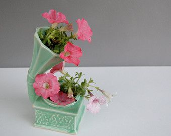 Vintage 40s McCoy Gramophone Planter Sea Foam Celadon Green Pottery