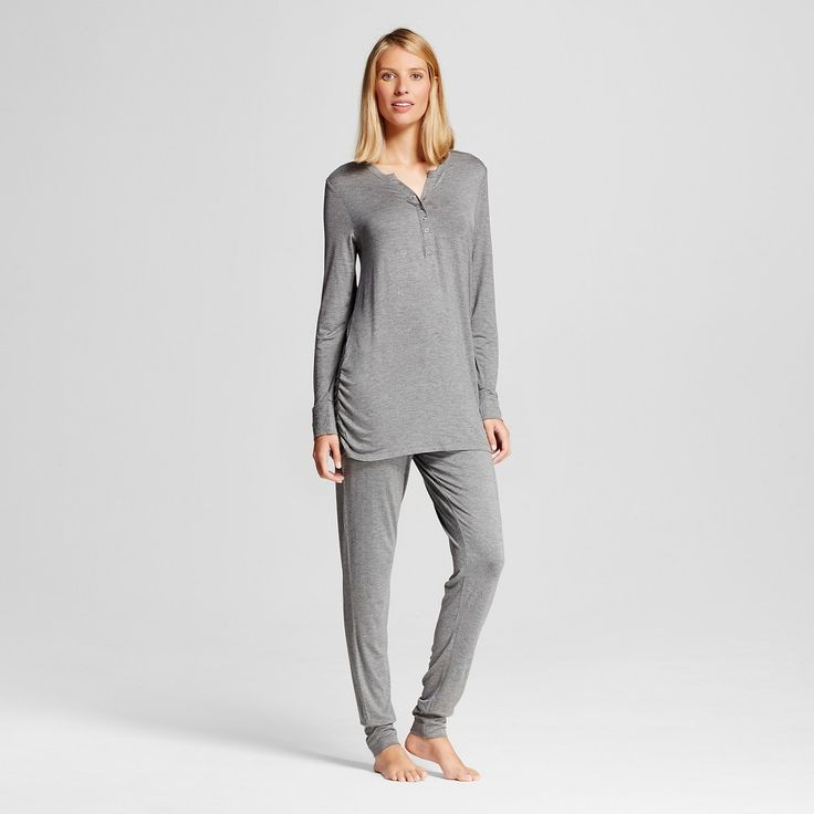 Lamaze Women's Nursing Henley Long Sleeve Shirt and Pant Pajamas Set - Charcoal Heather Xxl