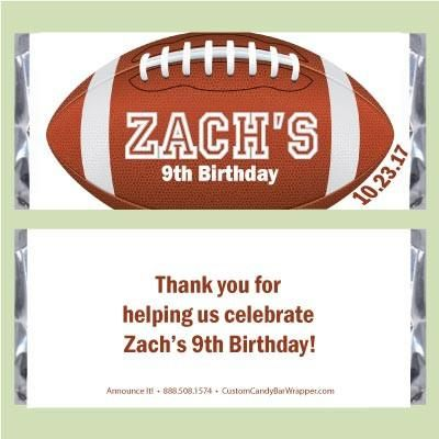 Football Birthday Candy Bar Wrappers #football #birthdayparty #party #partyideasforkids