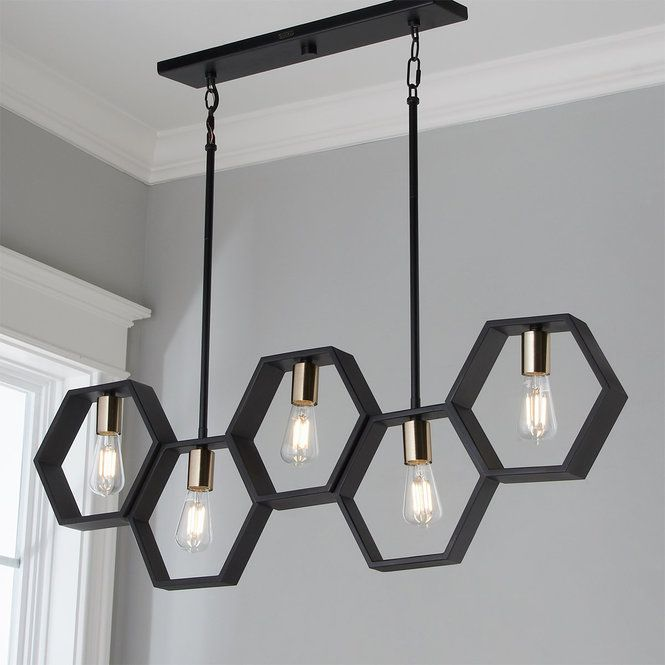 Modern Hexagon Linear Chandelier Lighting Design Interior