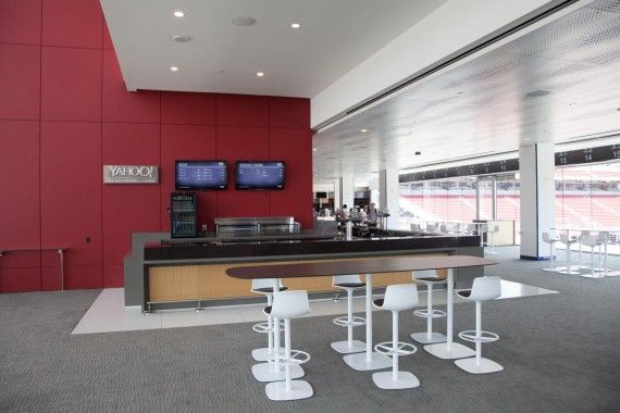 The San Francisco 49ers will debut their brand new, state-of-the-art, Levi's Stadium this season and the amenities will be a plenty. One, in particular, that stands out from the crowd is the Yahoo! Fantasy Football Lounge.  The lounge will be available to 1,400 to 1,600 fans in the luxury suites, and will include flat screens, charging stations and wi-fi so fantasy owners can monitor their teams while at the game.