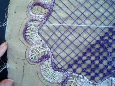 how to do a fagoting stitch in a Romanian Point Lace round doily.  This is an increasing fagoting stitch which means one side of the area being filled is larger think of a crescent moon shape     photo tutorial that goes with this video http://sunshinescreations.vintagethreads.com/2012/01/jan-rplal-round-do...