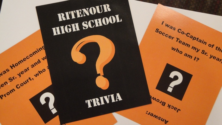 cute trivia game cards created by the Ritenour 1985 reunion committee