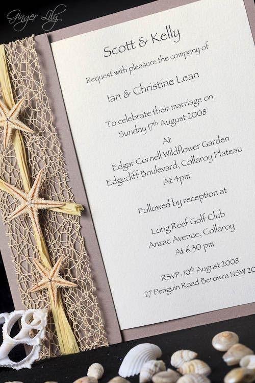 Beach Wedding Invitation DIY Kit ~ Urban Starfish NATURAL Invite ~ 25 pcs