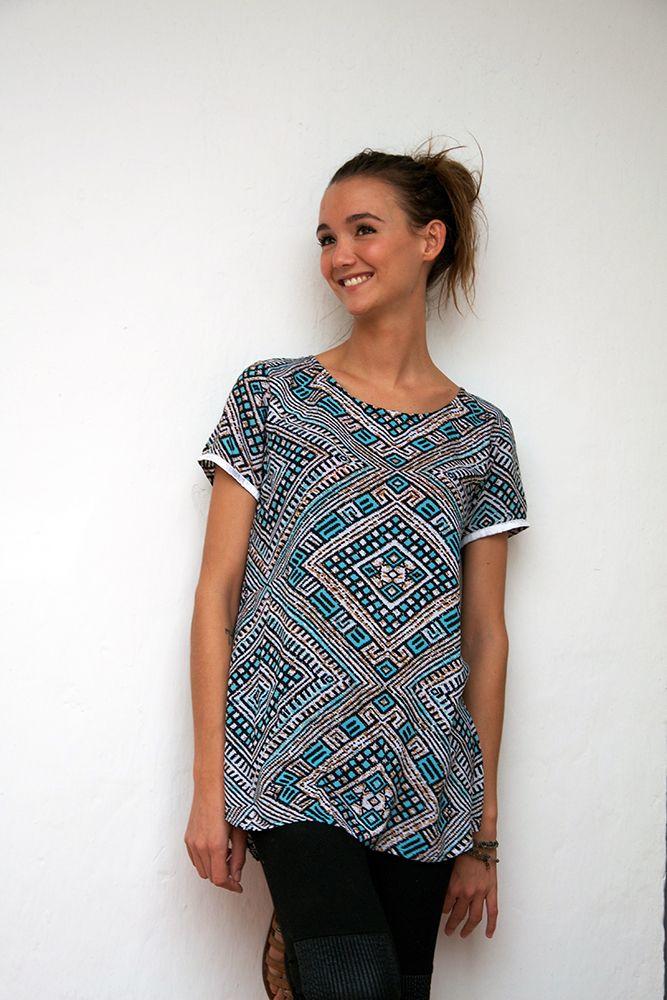 Sorayane - Blue Lozenge Batik T-shirt