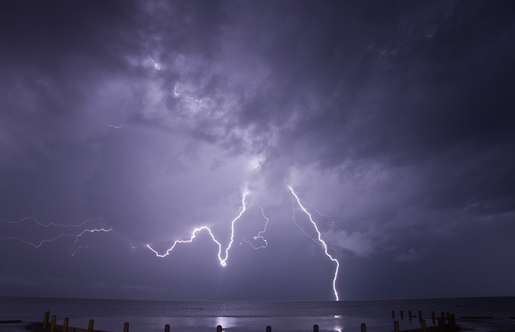 Lightning over Moreton Bay, QLD, Australia.