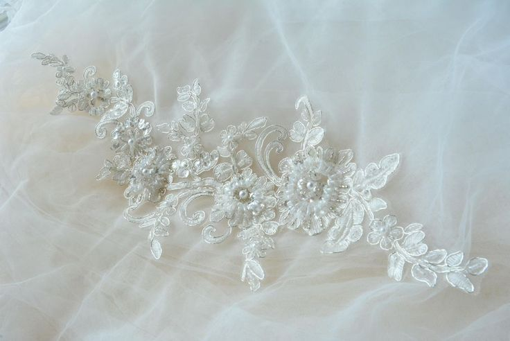 Delicate 3d beaded lace applique,Silver cord flower patch ,sewing craft