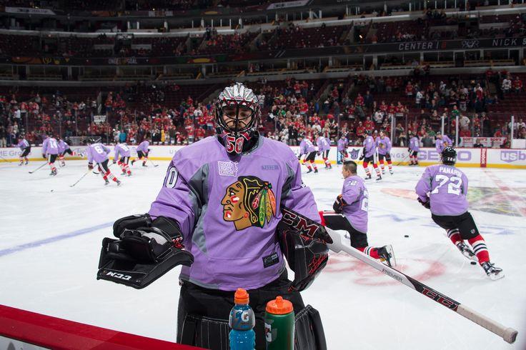 Corey Crawford on Hockey Fights Cancer Night.