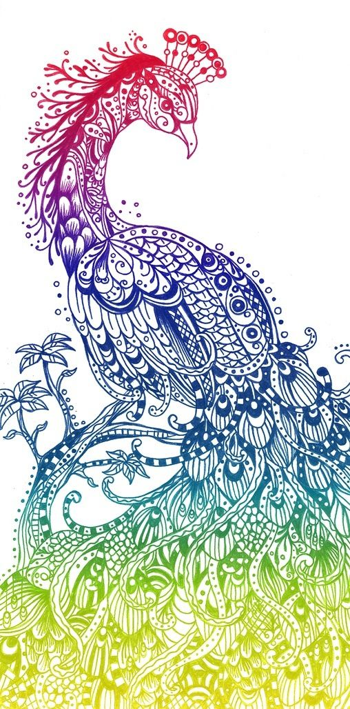 Peacock tattoo- I would love to get this as a print. Gorgeous.