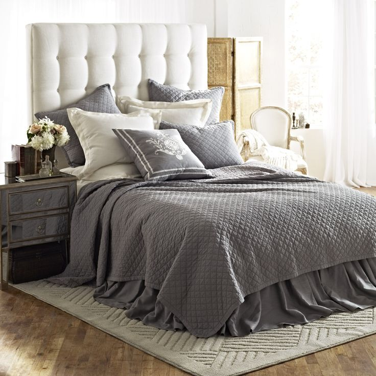 Emily Diamond Quilted Bedding in Ash Gray Linen   Lili Alessandra