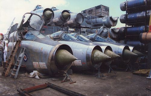 Former Saudi English Electric Lightnings at Marine Salvage, Portsmouth. These were later used for the ships in the film Wing Commander