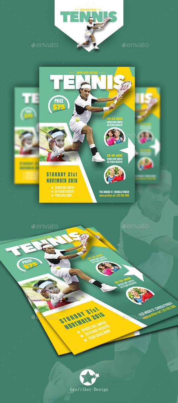 Tennis Camp Flyer Templates by grafilker Tennis Camp Flyer Templates Fully layeredINDDFully layeredPSD300 Dpi, CMYKIDML format openIndesign CS4 or laterCompletely editable